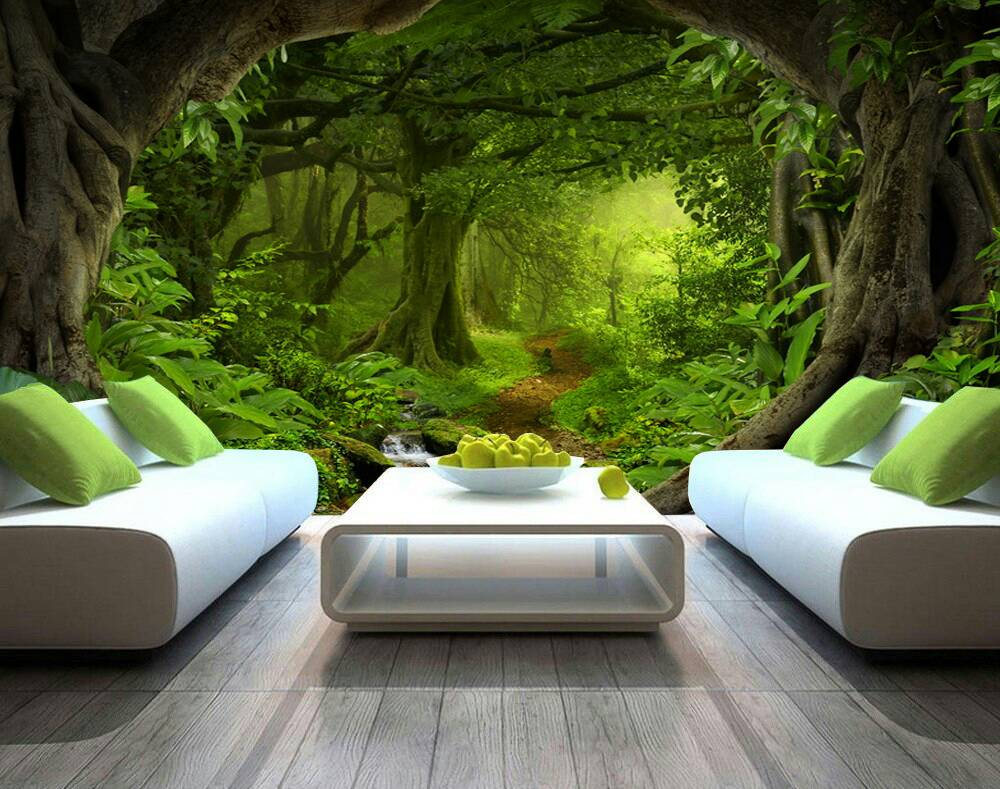 Forest Green Trees 3d Custom Wall Murals Wallpapers