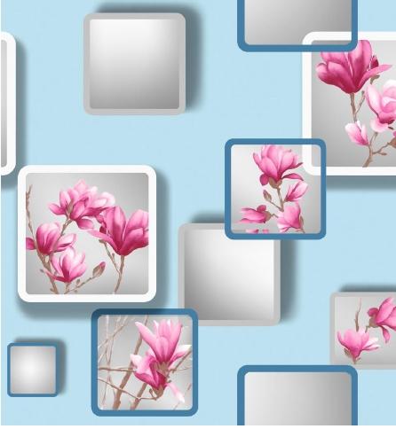 Modern Sky Blue Patterned With Fuschian Pink Flowers 3d Design