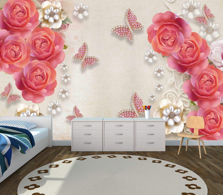 Pink 3d Rose Flower Custom Photomural Wallpaper Dcwm000504