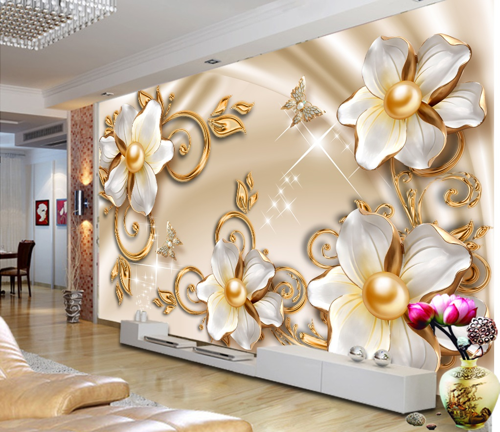 Luxury Gold Floral Custom Photomural Wallpaper Design Dcwm0398830 Decor City