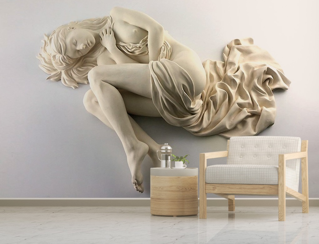 Sleeping Woman Sculpture On A Wall 3d 5d 8d Wall Murals Custom Wallpaper Dcwm20061337 Decor City