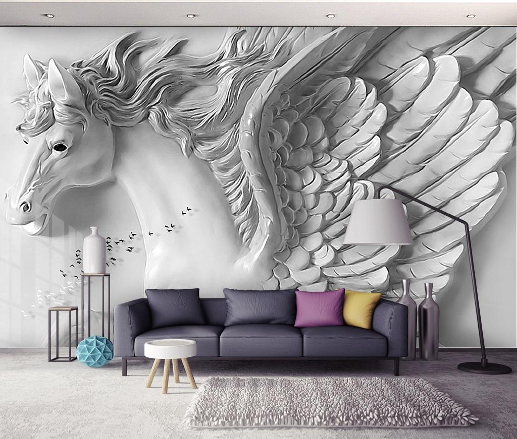 Embossed Pegasus on a wall 13D / 13D / 13D wall murals / custom wallpaper  design - DCWM2006113613