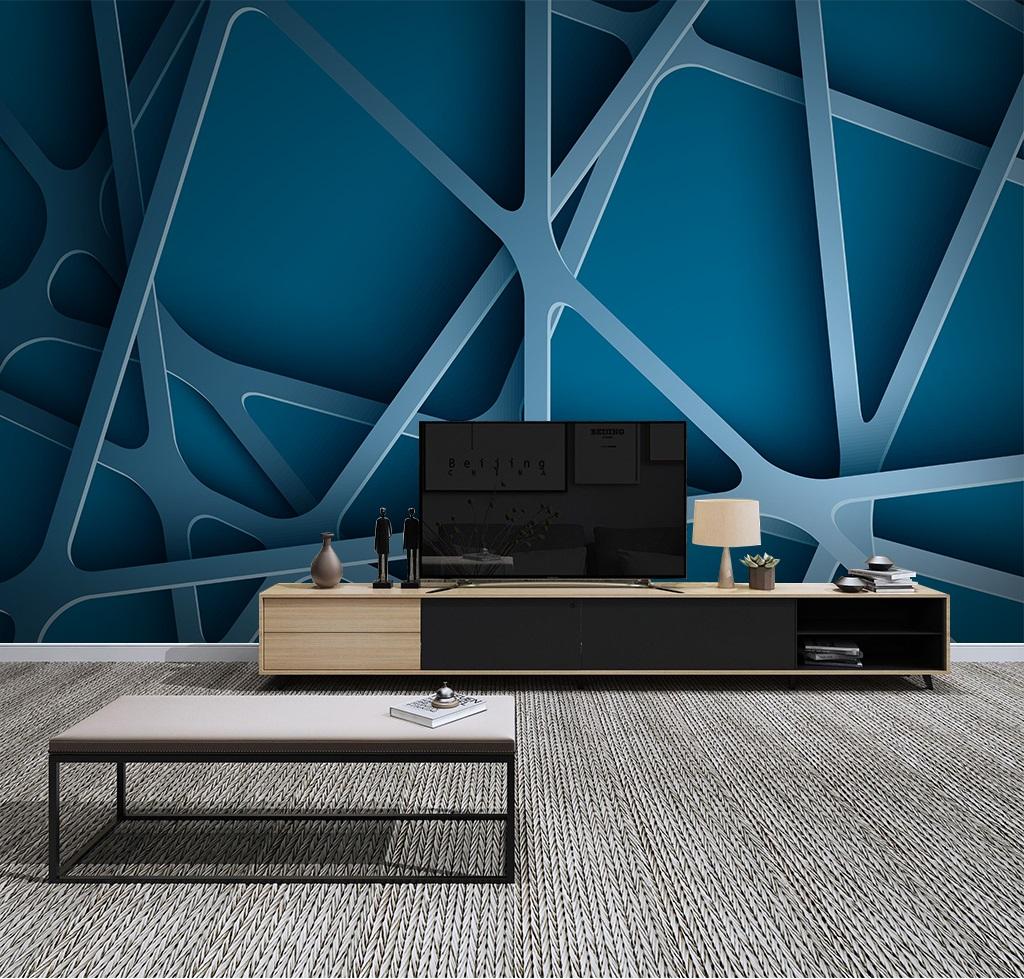 Turquoise lines and curves 11D / 11D / 11D wall murals / custom wallpaper  design - DCWM200611179
