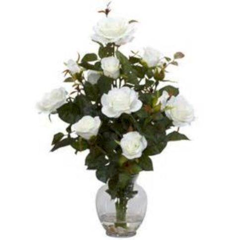 Rose Bush Silk Flower Arrangement With Vase