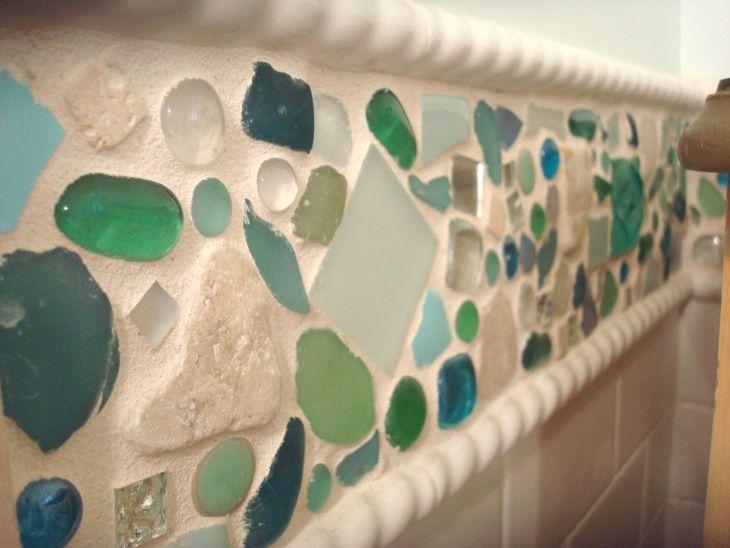 White Kitchen Sea Glass Tile