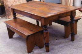 Farmhouse Table with Benche