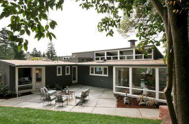 mid century modern home exterior white