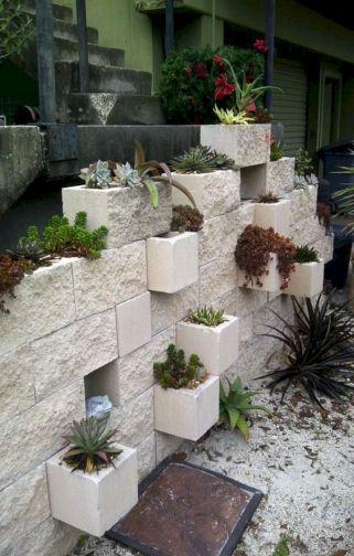 Cinder Block Garden Wall Planter DIY