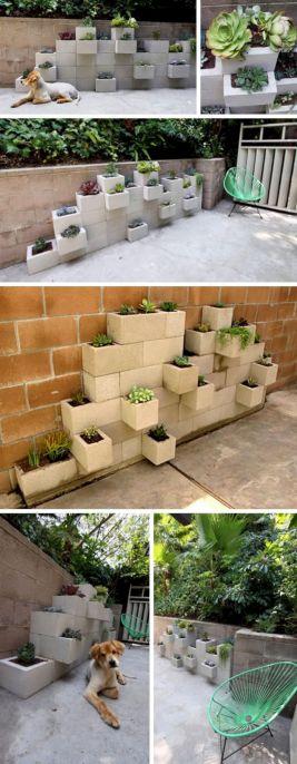 Concrete Cinder Block Planter Wall
