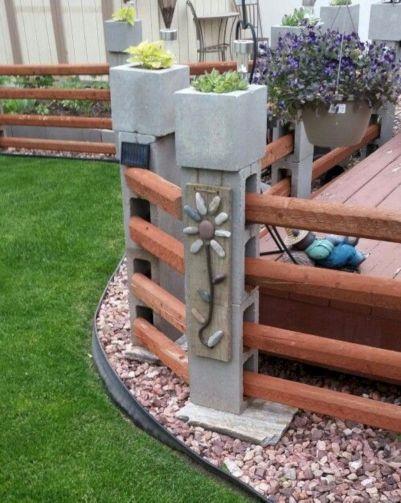 DIY Cinder Block and Wood Fence