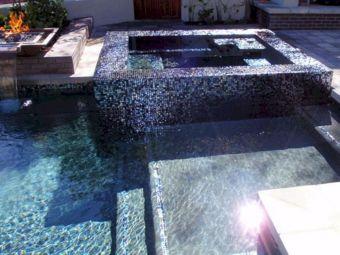 Glass Tile Pool with Spa