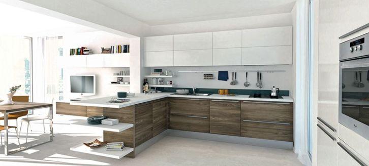 Modern White Wood Kitchen Cabinets