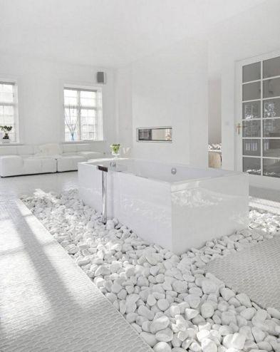 Bathroom with White Stones
