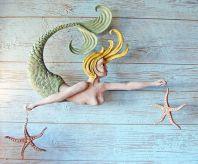 Mermaid Folk Art Wood Carving