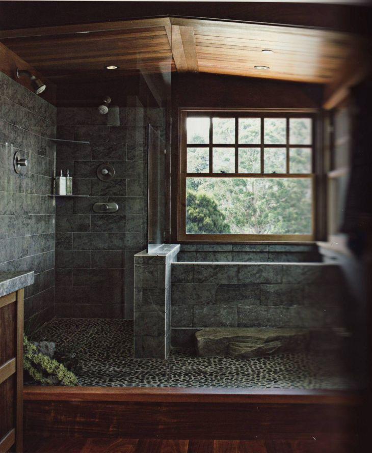 Rock Wall Bathroom Design