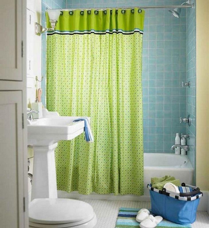 Green Shower Curtain Bathroom Ideas