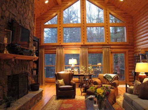 Log Cabin Living Room Windows