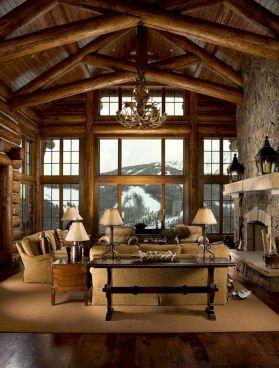 Mountain Log Cabin Living Room Decor