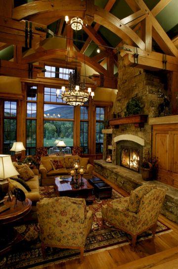 Rustic Log Cabin Cozy Living Rooms