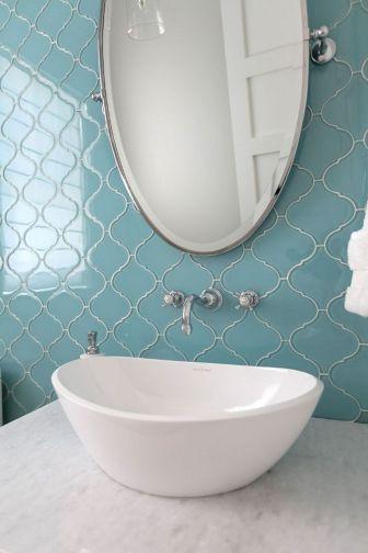 Arabesque Glass Tile Bathroom