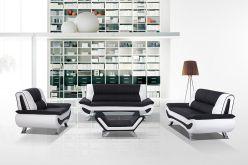 Black and White Modern Leather Sofa Set