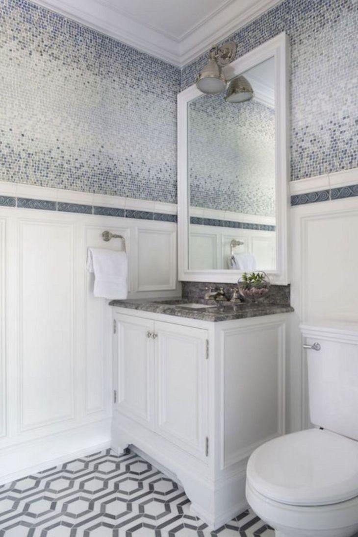 Blue and Gray Bathroom Floor Tiles