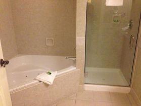 Corner Soaking Tub and Shower Combo