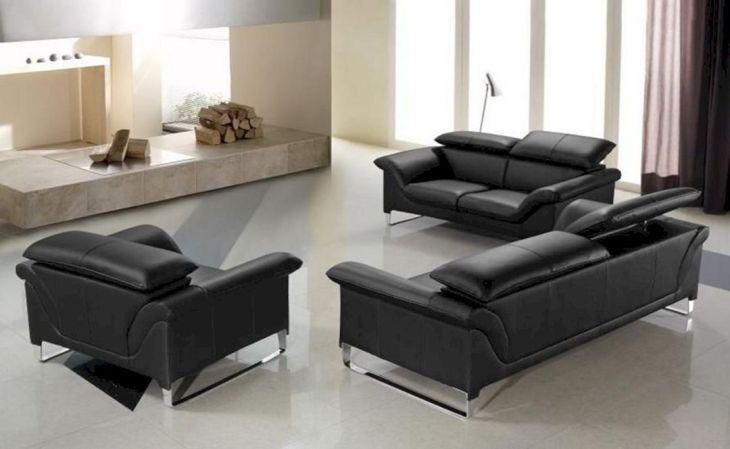 Modern Black Leather Sofa Sets