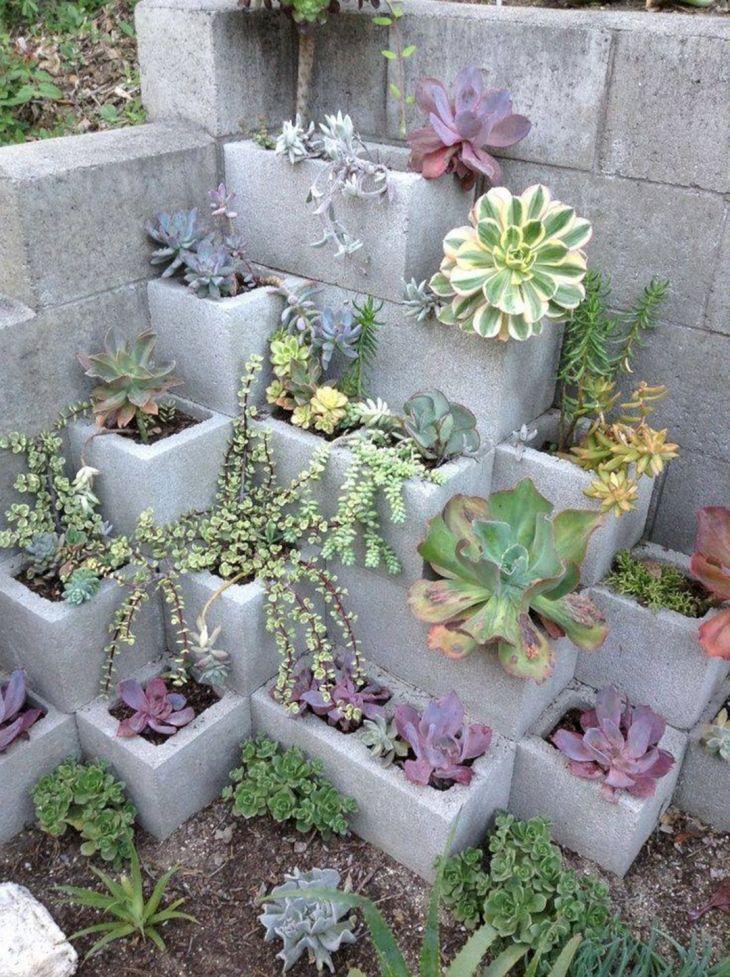Succulent Plant Cinder Block Garden
