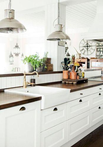 Farmhouse White Wood Kitchen Counter