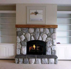Stone Wall Fireplace