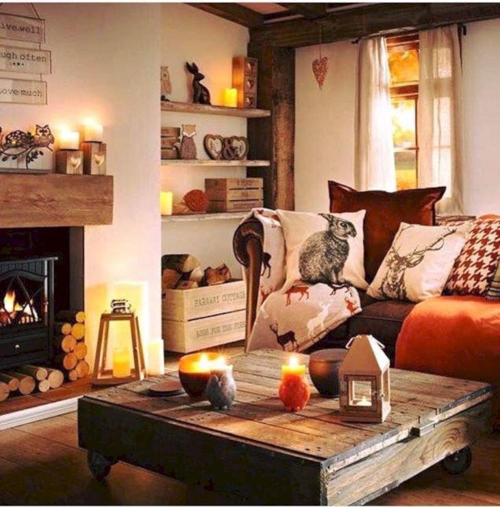 Living Room Fall Decor Ideas 39
