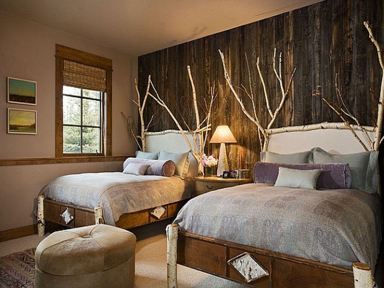 Rustic wood accent walls bedroom