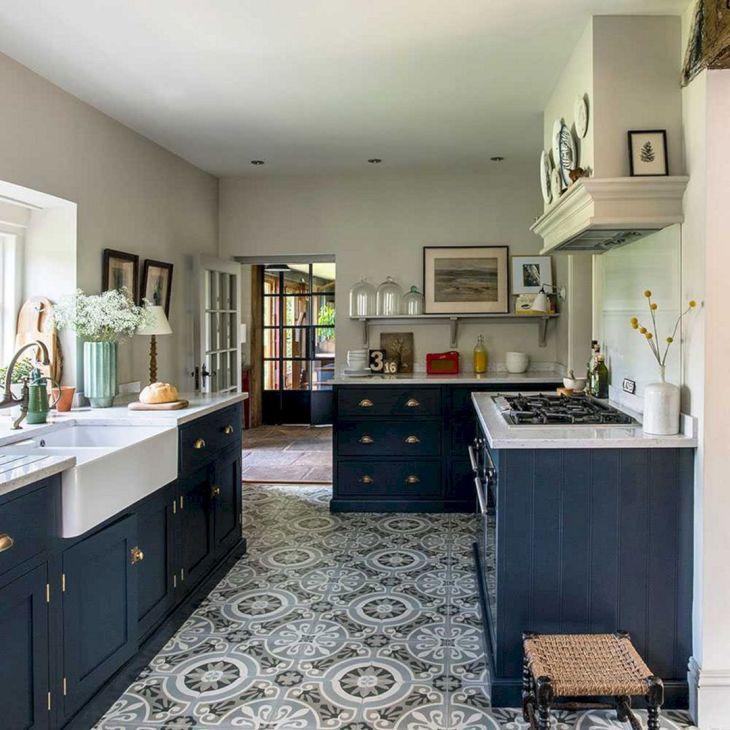 Kitchen Interior With Spiral Motif Floor