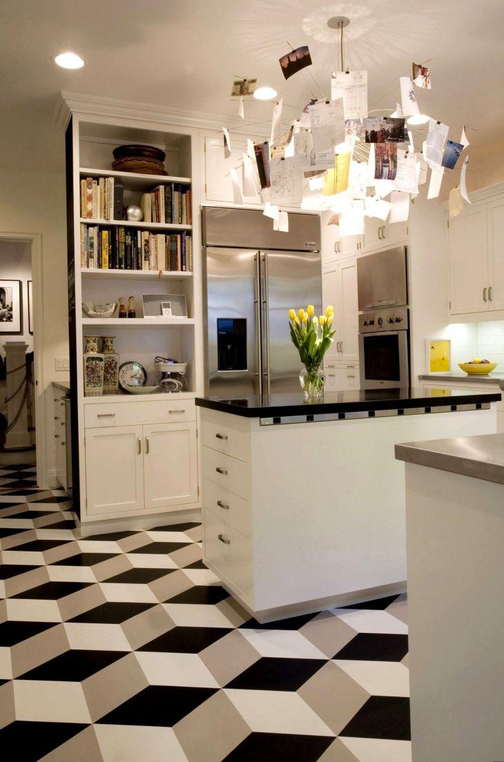 Kitchen Interiors With Geometric Floors