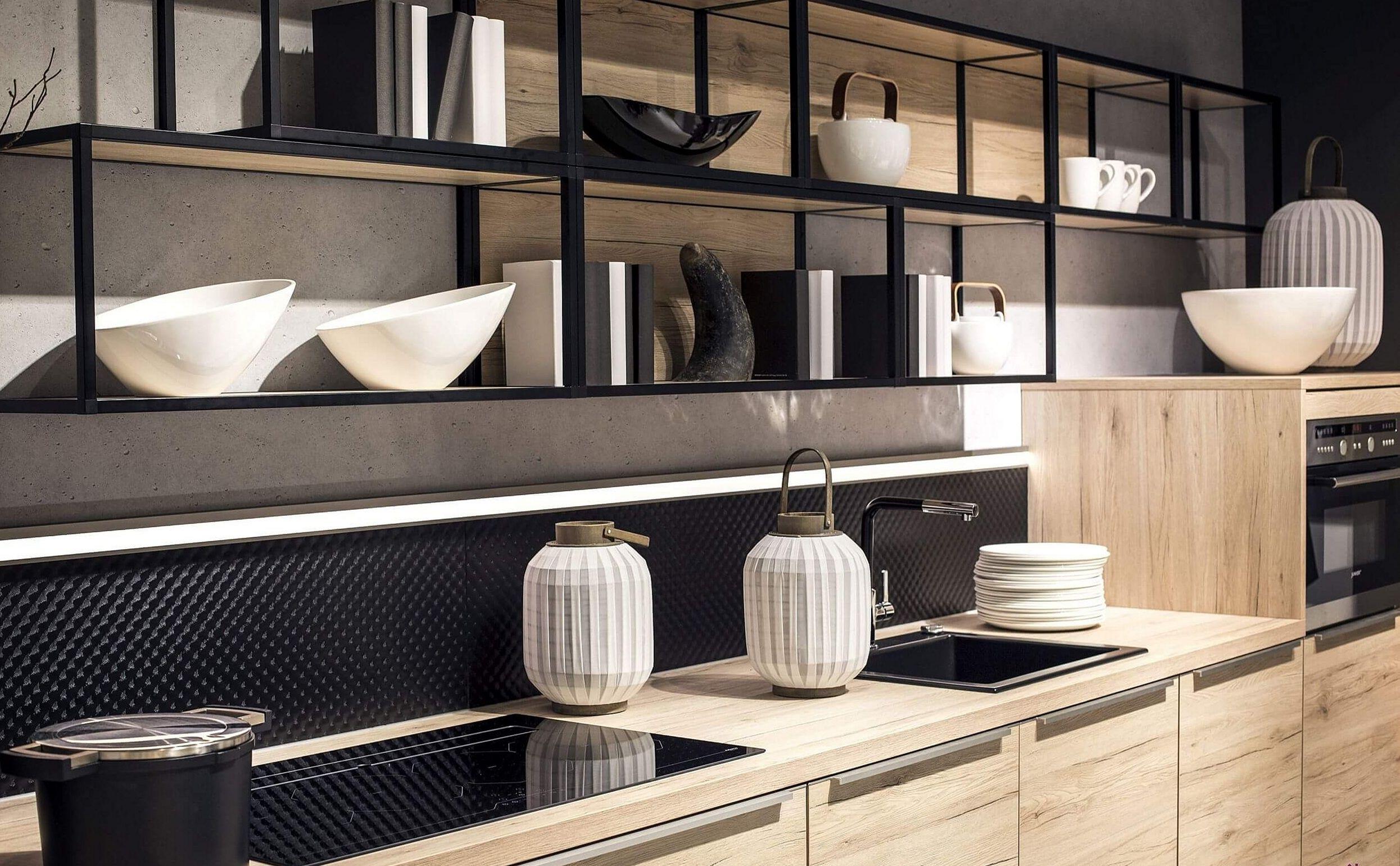 Large Minimalist Kitchen Shelves