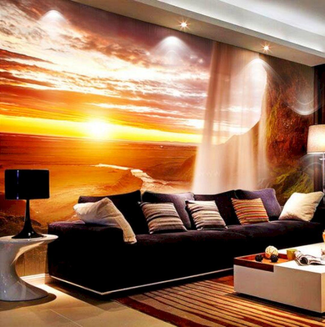 3D Sun Dusk 3D Wall