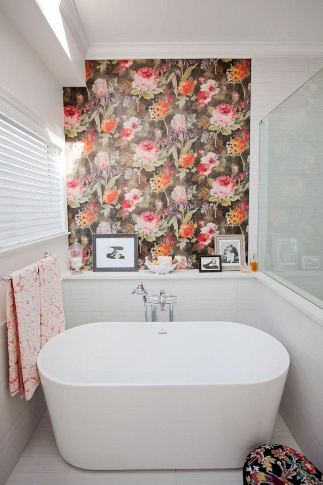 Bathroom With Flower Wall Ideas