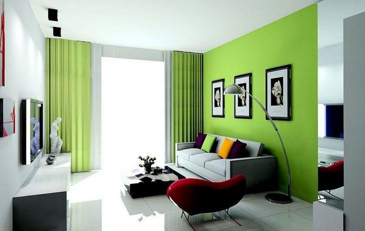 Amazing Living Room Green Curtain