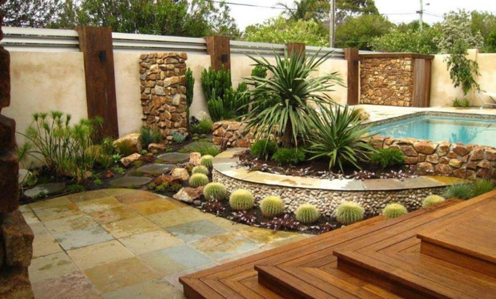 Low Maintenance Landscaping around Pool 10