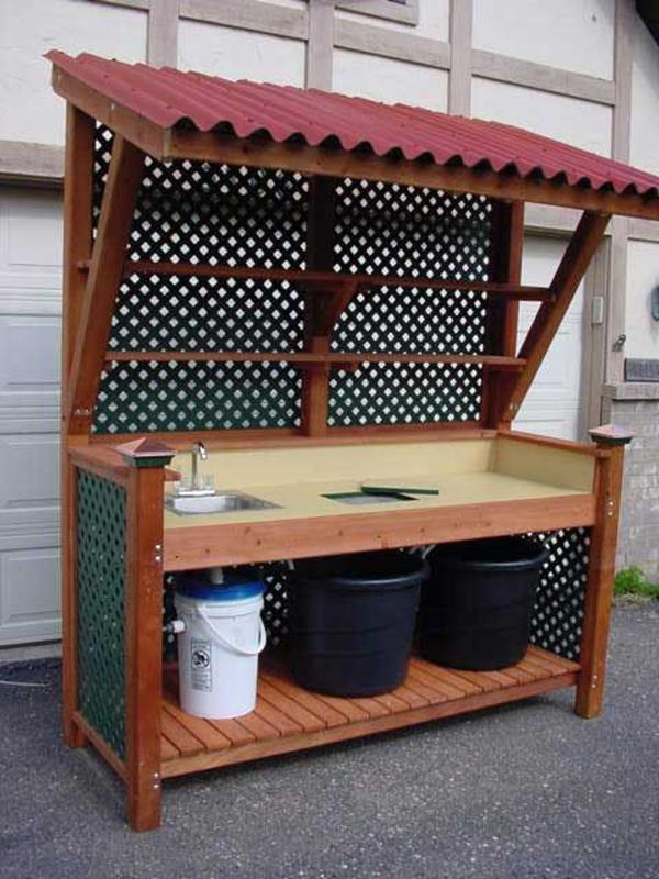 Outdoor Garden Potting Bench Design Ideas 12