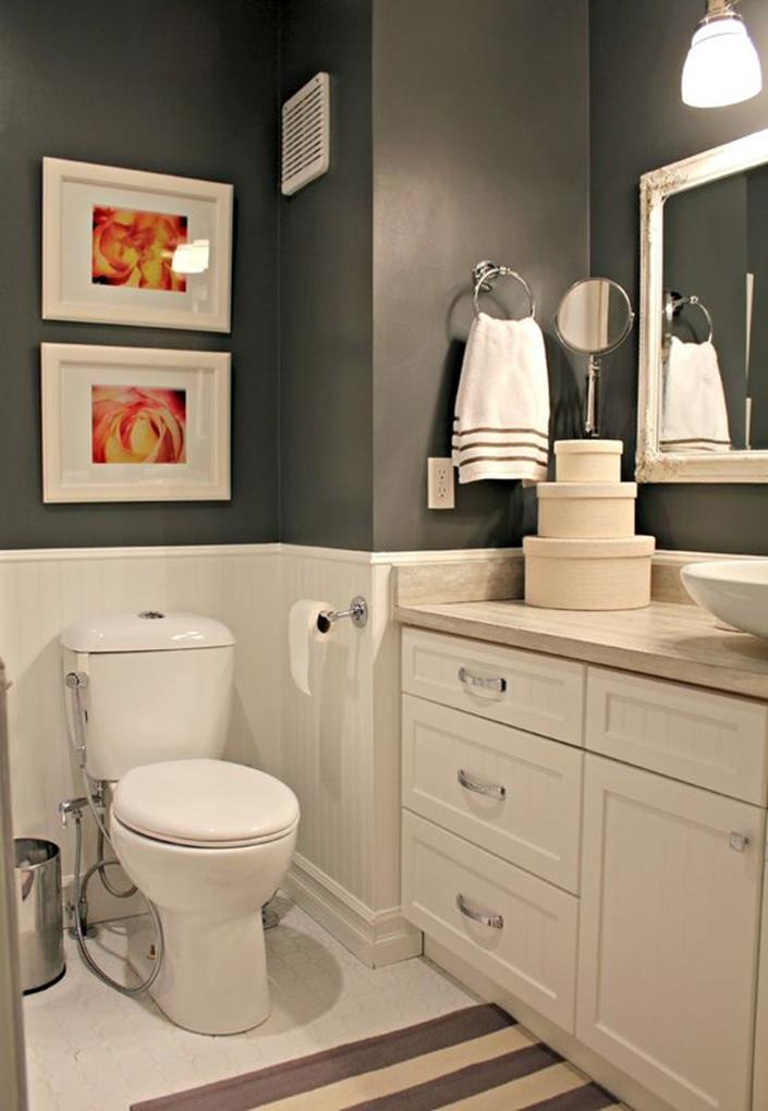 Stunning Gray Bathrooms with Accent Color Ideas 10