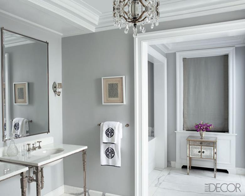Stunning Gray Bathrooms with Accent Color Ideas 23