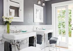 Stunning Gray Bathrooms with Accent Color Ideas 25