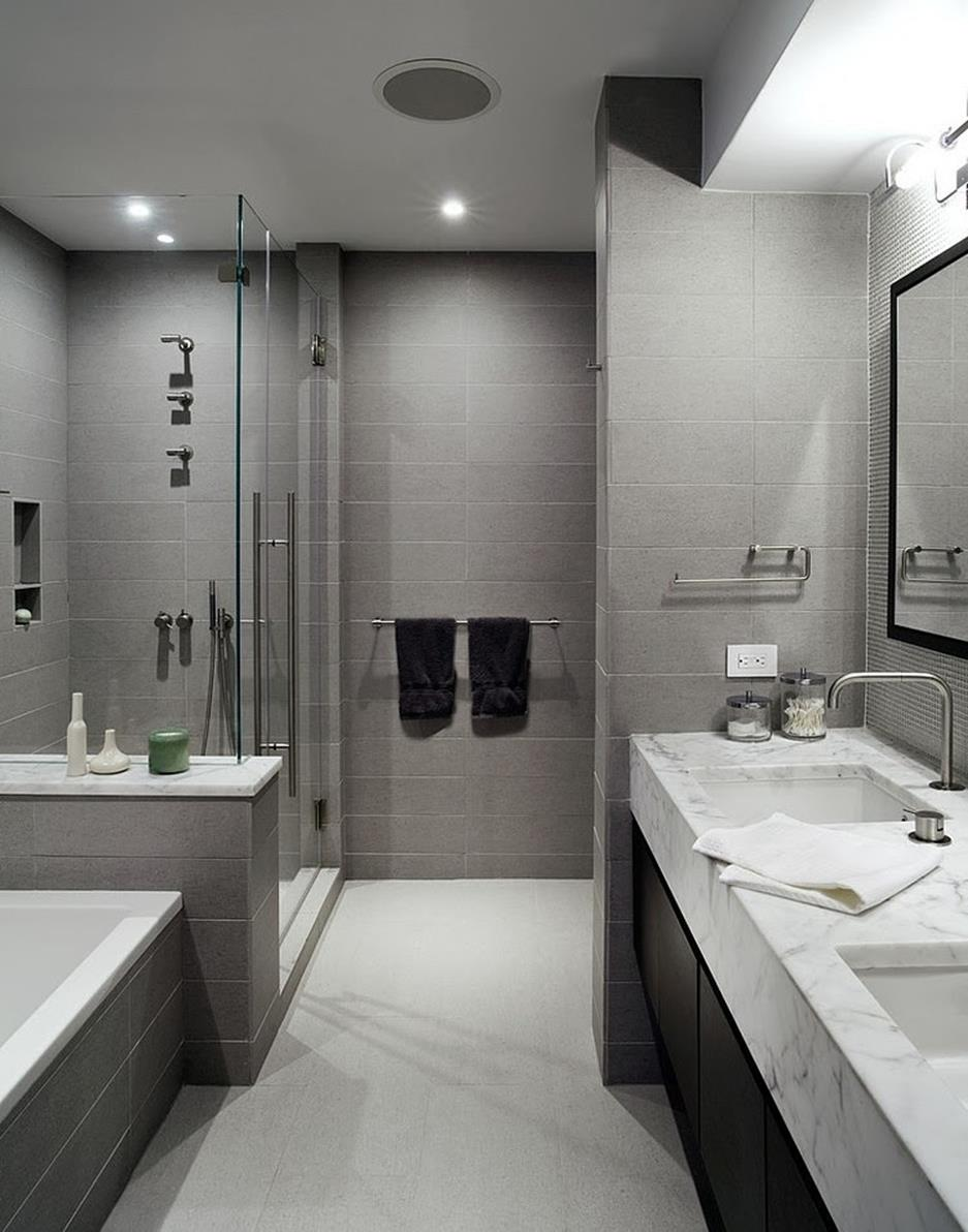 Stunning Gray Bathrooms with Accent Color Ideas 31