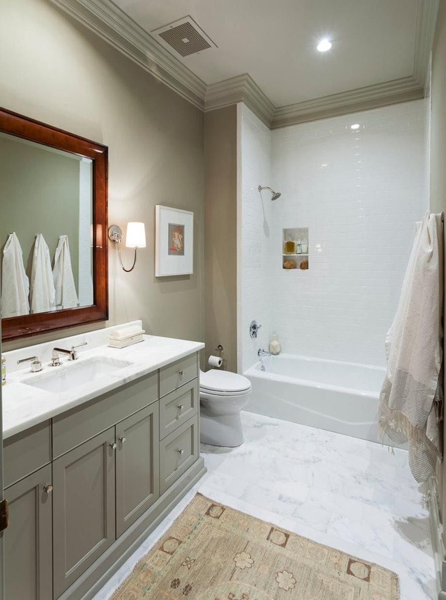 Stunning Gray Bathrooms with Accent Color Ideas 35