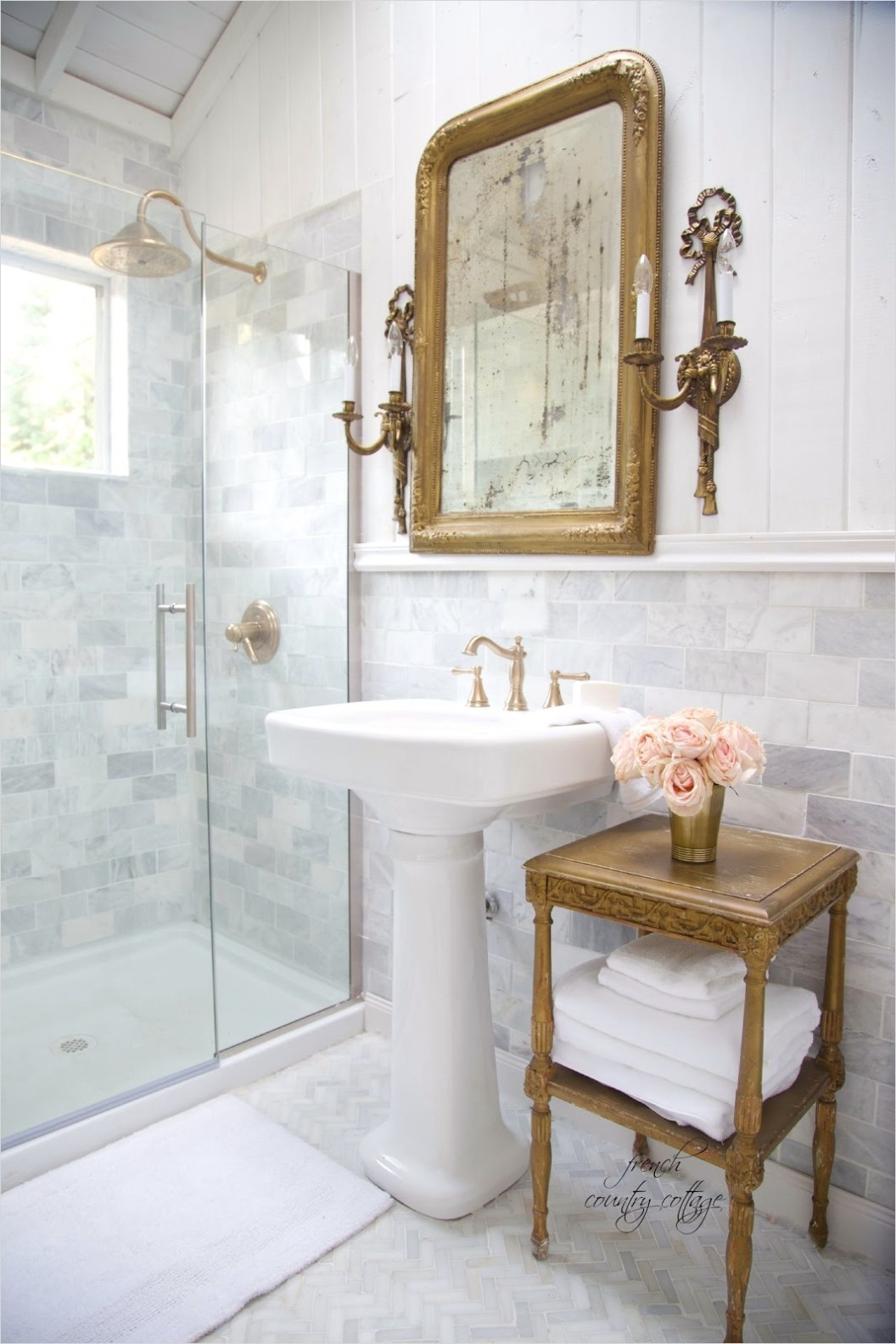 40 Stunning French Country Small Bathroom 45 Details the Perfect Pedestal Sink French Country Cottage 3