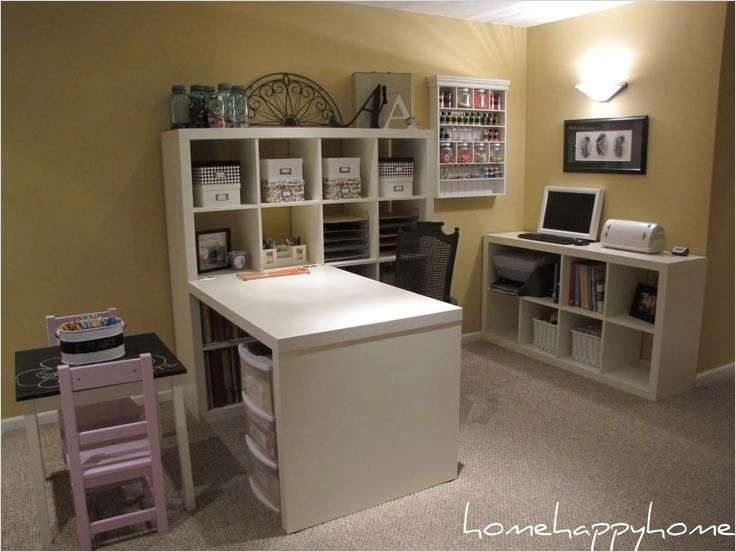 41 Inexpensive Ikea Scrapbook Room for Storage Ideas 45 Expedit From Ikea 4x4 Shelf Unit with attached Desk & 2x2 5