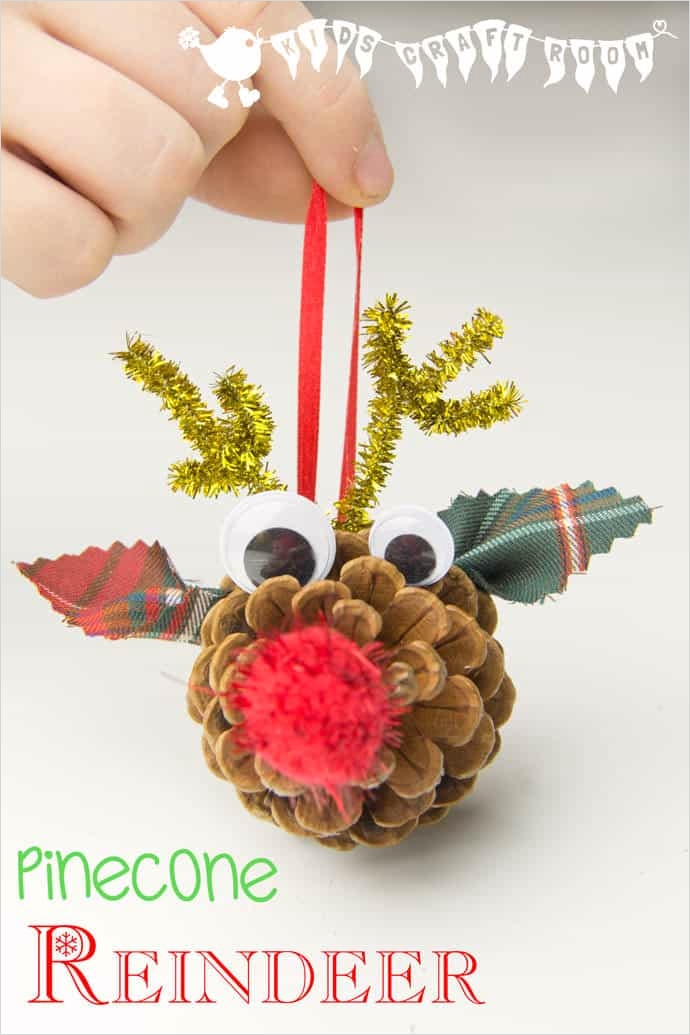40 Diy Easy Christmas ornament Crafts Ideas 86 Pinecone Reindeer Homemade ornaments Kids Craft Room 6