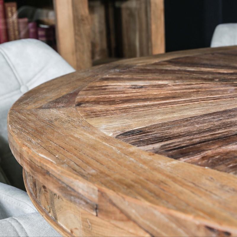 table ronde en orme pour salle a manger